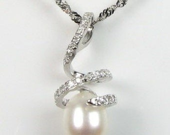White pearl pendant, freshwater pearl 925 silver sterling spiral pendant necklace, real pearl bling crystal bridal pendant, 8-9mm, F2050-WP