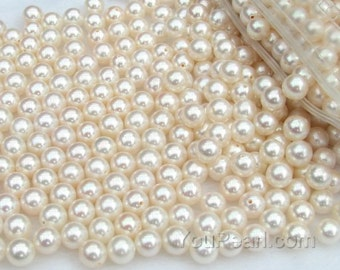 AA+ 6-6.5mm round freshwater pearl beads, white loose pearl, half drilled hole natural cultured pearl, good quality, FLR6065-W