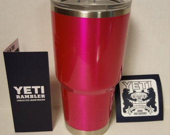 YETI RAMBLER! Custom Powder Coated  20oz/30oz Tumbler, Colster, Lowball - Translucent Corkey Pink with stainless showing on top on bottom.