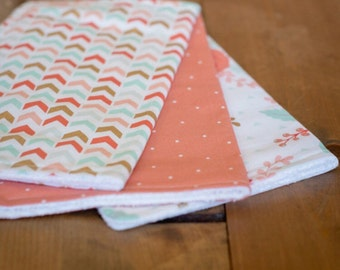 Set of 3 Baby Girl Burp Cloths — Coral Dot, Coral Flower, Coral Herringbone