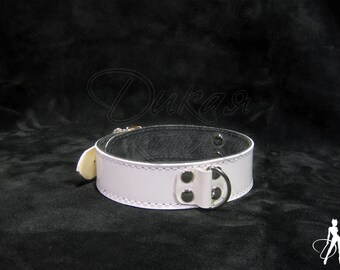 White BDSM collar made of real leather