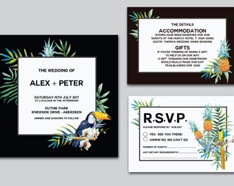 Beach Wedding Stationery - Tropical Invite - Destination Wedding Stationery - Birds of Paradise - Summer Party - Toucan