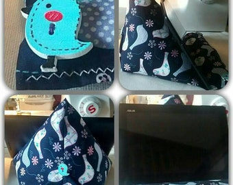 Kindle tablet  phone  blue bird fabric bean bag stand
