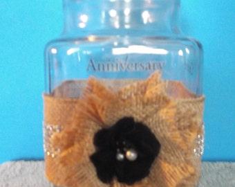 "Anchor Hocking Apothecary Jar Vintage Anniversary With Rhinestone Burlap Design 9.25"" Tall X 4.50"" Wide"