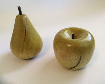Turned timber apple and pear