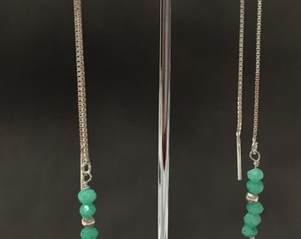 Silver earrings and chrysoprase