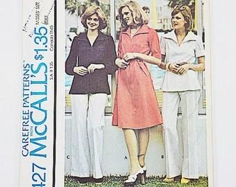 70s Dress Pants Pattern | McCalls 4427 Misses Dress or Top & Pants | 70s Sewing Pattern