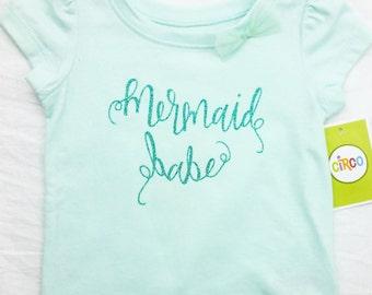 Mermaid Babe Summer Tshirt or Onesie, Toddler Tshirt or Onesie, Girl Mermaid, Beach Shirt