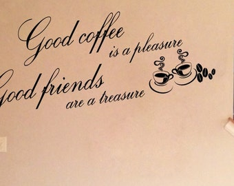 Good coffee good friends Inspirational  vinyl wall decor decoration Sticker family words  decal sticker cheap kitchen decorative Removable