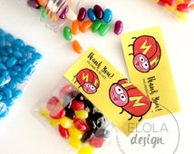 Zoom Lady Bug Treat Bags Labels - Printable Party Favor Toppers / Goodie Bags Labels - Fold Over Labels - Kids Party Printable