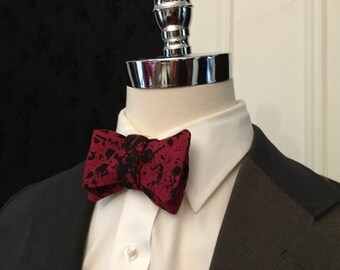 Red and Black Ink Blot Reversible Self-Tie Bow Tie