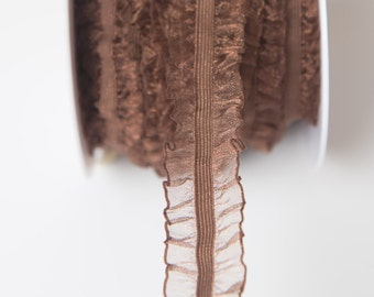 Brown ruffle Elastic, double ruffled elastic by the yard, stretch elastic headband, wholesale elastic, stretch elastic trim, organza fabric