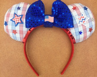 Red, White, and Blue Patriotic America Minnie Mouse Ears