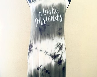 Medium Phish Let's Be Phriends Green Tie Dye Loose Flowy Soft Tank Dress