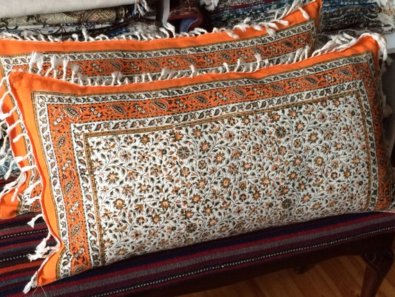 Set of two handmade orange pillow cover, floral design in calico fabric and irish linen 16 x 30 inches