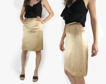GEORGIO ARMANI Silk High Waist Champagne Knee Length Skirt W 26 Size 4 / 6