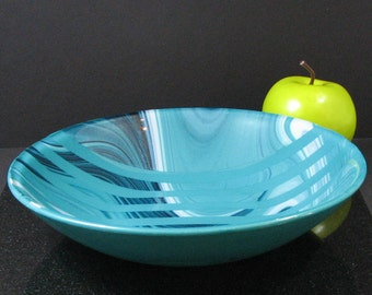Teal, White and Aventurine Blue Glass Bowl