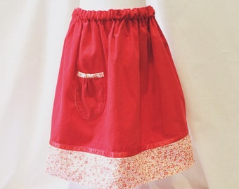 red floral corduroy skirt