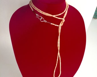 Vintage Angel Skin Coral * Necklace * Opera Length * 62 inches