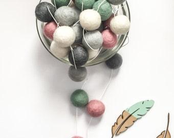 Felt Ball Garland -Mint-Pink-Grey -Nursery Decor-Pom Pom Garland