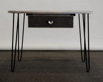MidCentury Modern Desk Hairpin Legs Grey/Black MCM Vintage Retro Computer Metal