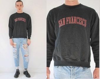 San Francisco Fleecewear Co Pullover Grey Sweater/ Minimal Logo Sweater