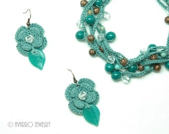 Pastel Turquoise Crocheted Beaded Jewelry Set, Beaded Wrap Necklace, Dangle Beaded Earrings, Long Beaded Bracelet, Textile Jewelry Set