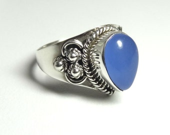 chalcedony ring, 925 Solid Sterling Silver ring, Silver Ring,92.5  Sterling Silver Ring,silver ring, chalcedony(custom size, your size)