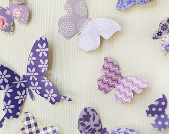 3D Wall Butterflies - 12 Violet Butterfly Silhouettes / Nursery Decor / Home Decor / Wedding Decor