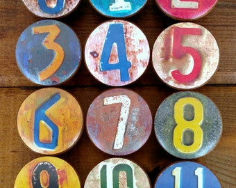 License Plate Wood Knob on Cherry Wood Knob size 1.5 x 1.18 Drawer Pull, Dresser Knob, Kids Room, Man Cave