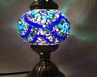Turkish Handmade Glass Mosaic Electric Table Lamp - Blue Wave Design