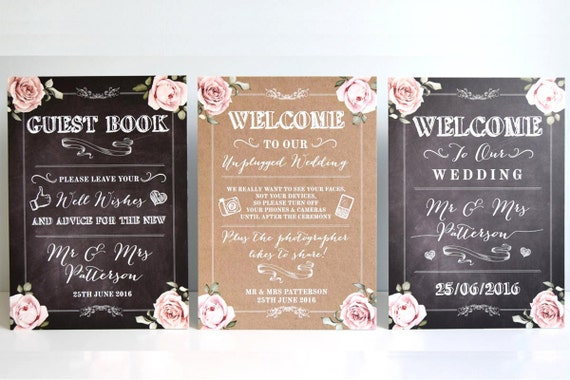 Rustic Wedding Signs and Table Plans