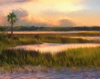 Large Art Sunset, Marsh landscape, Coastal Art Print, Beach House, Coastal Decor, Beach Cottage Art, Orange Painting, Available on Canvas