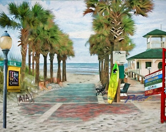 Via A1A, Neptune Beach, Florida, Pier, Lifeguard Station, Surfboard, Beach, Coastal Art, Beach Decor, Seaside, Ocean Art, Fine Art Print
