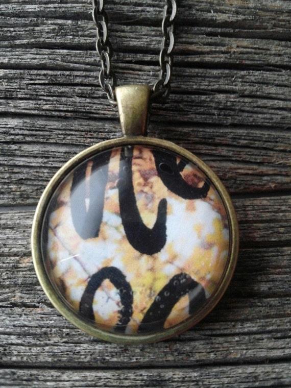 collage wearable art pendant: Autumn