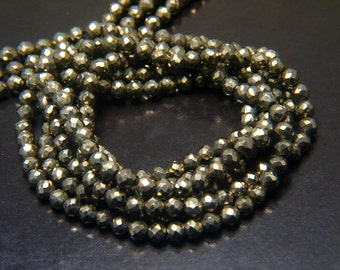 "Natural Pyrite Faceted Rounds with Beautiful Gold Pyrite Color, 3.5mm Bead Size - 13"" Strand"