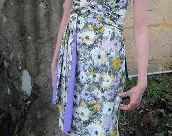 Vintage 50s 1950s 60s 1960s Mad Men floral tailored cotton dress