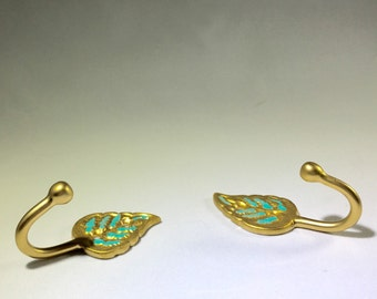 Gold Hooks with Teal