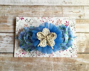Blue Baby Headband/Baby Headband/Blue Headbands/Baby Girl Headband/Newborn Headband/Infant Headband/Shabby Chic Headband/Flower Headband