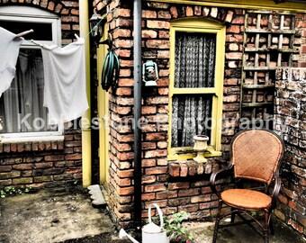 British backyard scene 2, backyard photography, Old courtyard print, Red brick building photography