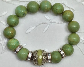 Green African Turquoise Bead Bracelet