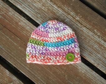 Newborn Girl Button Hat