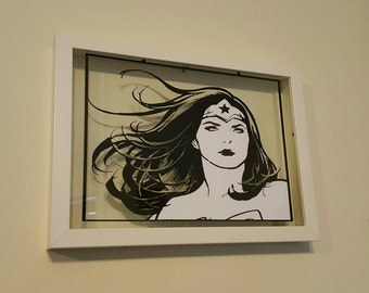 Wonder Woman - Layered Paper Cut in Floating Frame