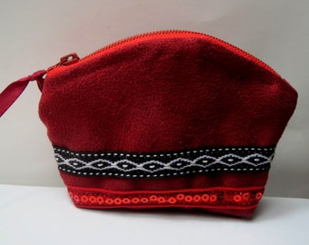 """Small coin purse suede bordeaux style ethnic """"inca"""""""