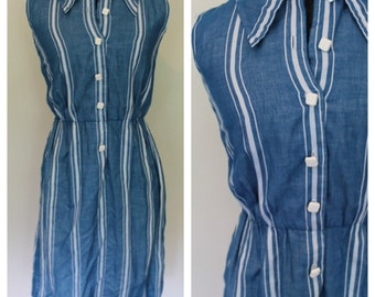1960's Blue / Teal Striped Shirtwaist Vintage Dress - Square Buttons - AG Designs - Size Extra Small,Small