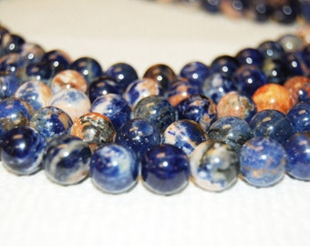 "Gorgeous Natural Sodalite Round Blue/orange Color Smooth Round Loose beads Size 6mm/10mm/12mm 15.5"" Long Per Strand.R-S-SOD-0195"