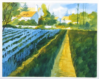 Farmhouse watercolor painting, original watercolor, field, crops, landscape watercolor #21