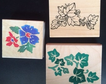 Flower and Ivy Leaves and vines stamps