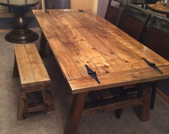 Rustic dinning room table and bench