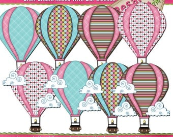 Pink/Brown/Turquoise Hot Air Balloons Digital Instant Download Clip Art